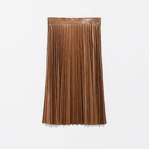 Zara Woman Faux Leather Pleated Midi Skirt